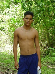 Sexy latino twink posing for the camera outdoors