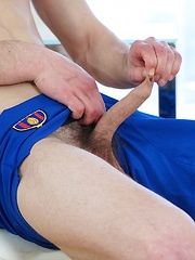 Danny Boxer strokes his cock after football practice.