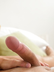 Gorgeous boy Martin Hovor shows off his muscles and hard cock.