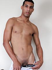 Horny latin man jerks his big uncut dick