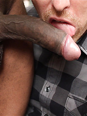 White guy sucking black cock with big pleasure