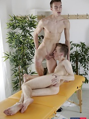 Fresh-Faced Twink Gets His Muscle Rubbed & His Ass Stretched By A Horny, Big Dicked Masseur!