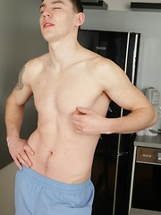 Sexy James Huck fingers his ass and strokes his cock.